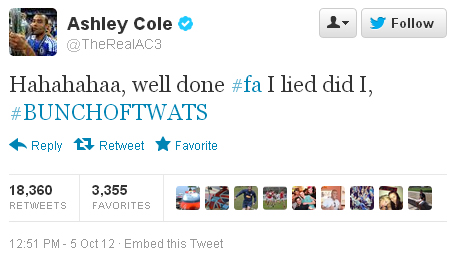 Ashley Cole FA Tweet