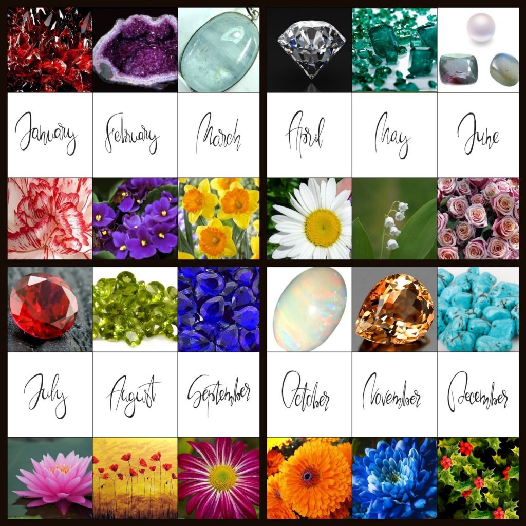 birthstone gems or flowers by month